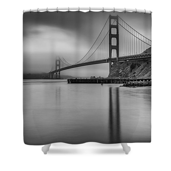 Golden Gate Black And White Shower Curtain