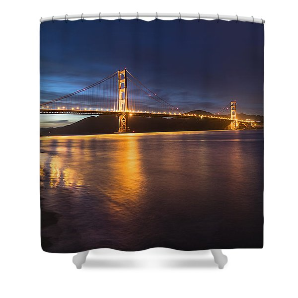 Golden Gate Blue Hour Shower Curtain