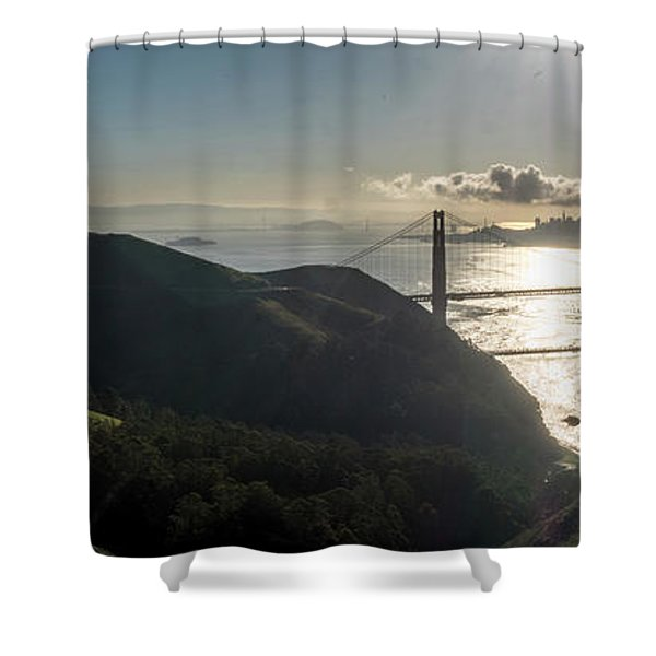 Golden Gate Bridge From The Road Up The Mountain Shower Curtain