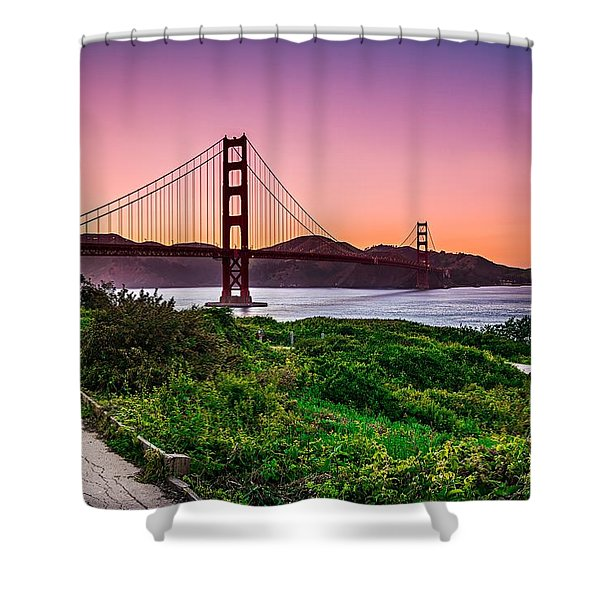 Shower Curtain featuring the photograph Golden Gate Bridge San Francisco California At Sunset by Alex Grichenko