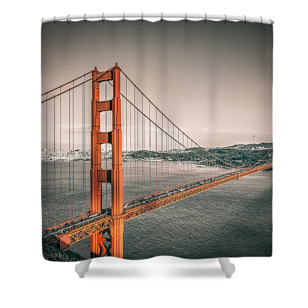 Golden Gate Bridge Selective Color Shower Curtain