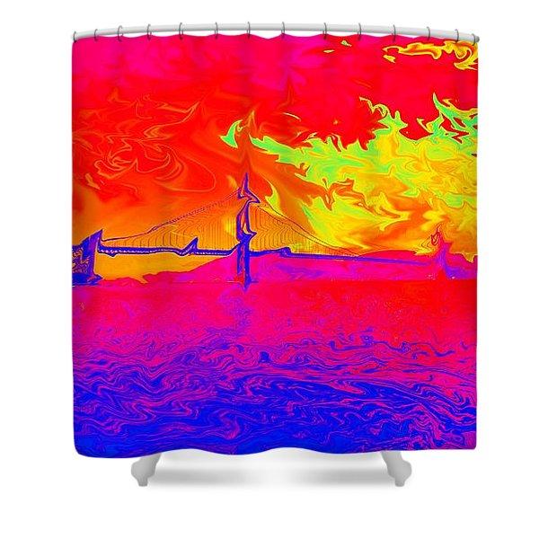 Golden Gate Mod Pop Shower Curtain