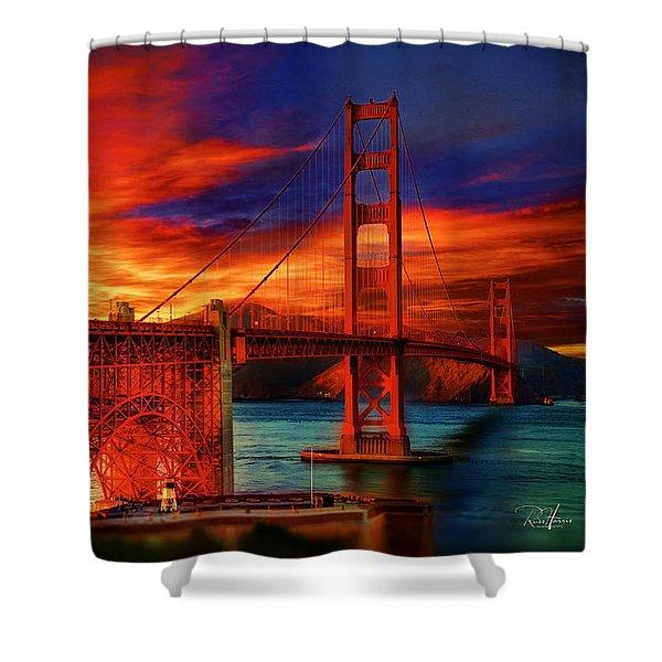 Golden Gate Sunset Shower Curtain