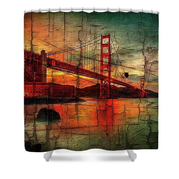 Golden Gate Weathered Shower Curtain
