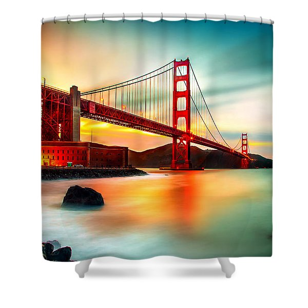 Golden Gateway Shower Curtain
