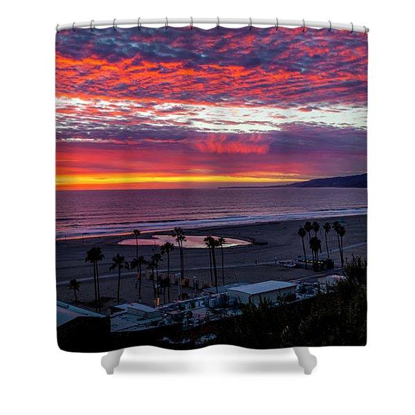 Golden Horizon At Sunset -  Panorama Shower Curtain
