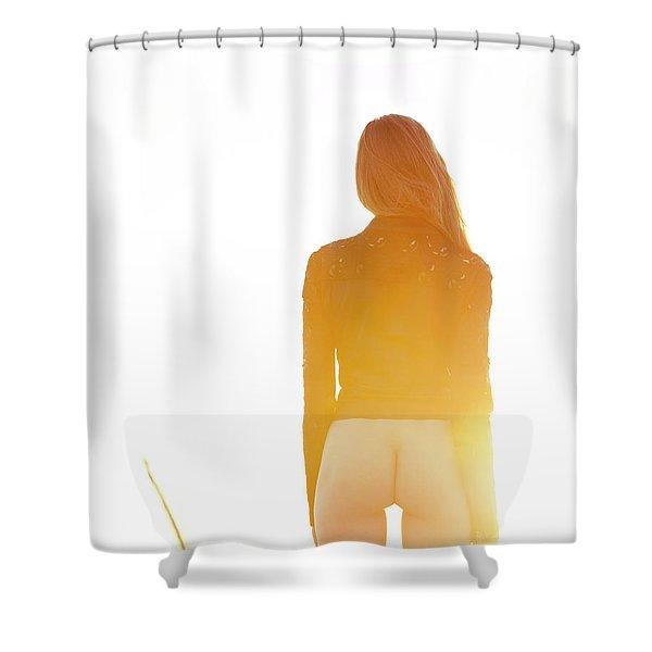 Golden Hour Girl Shower Curtain