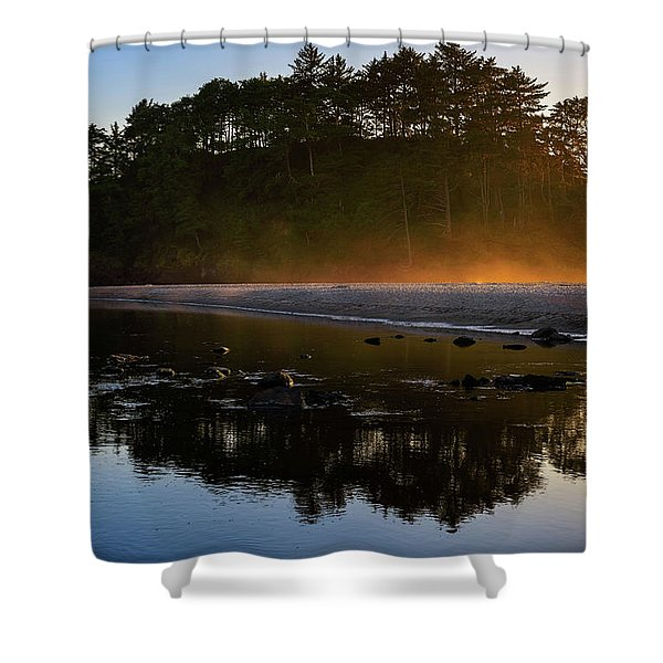 Golden Hour Haze At Proposal Rock Shower Curtain