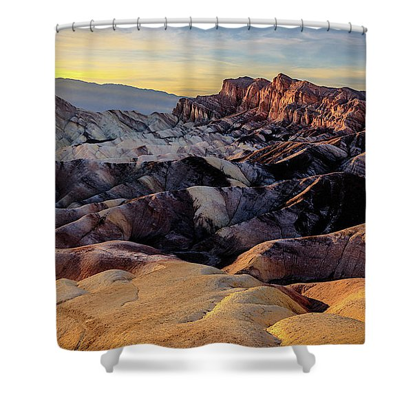 Golden Hour Light On Zabriskie Point Shower Curtain