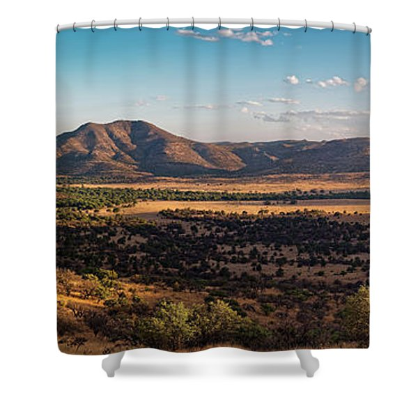 Golden Hour Panorama Of Davis Mountains - Blue And Paradise Mountain And Mount Livermore West Texas Shower Curtain