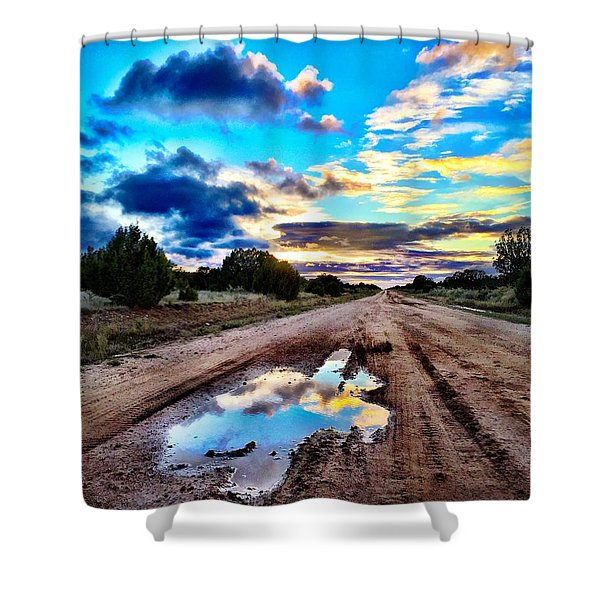 Golden Hour Pool Shower Curtain