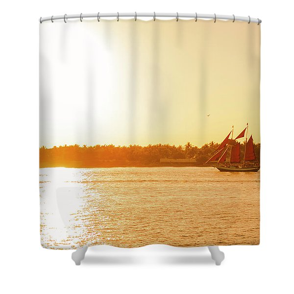 Golden Hour Sailing Ship Shower Curtain