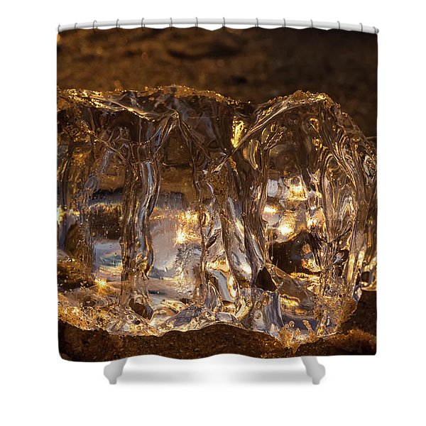 Shower Curtain featuring the photograph Golden Ice by Heather Kenward