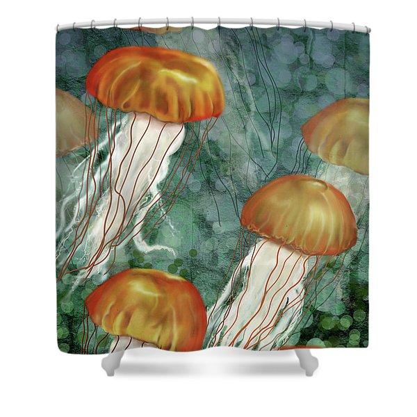 Golden Jellyfish In Green Sea Shower Curtain