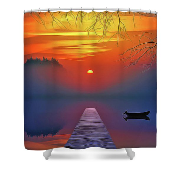 Golden Lake Shower Curtain
