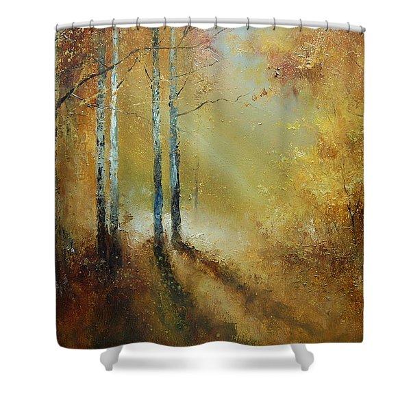 Golden Light In Autumn Woods Shower Curtain