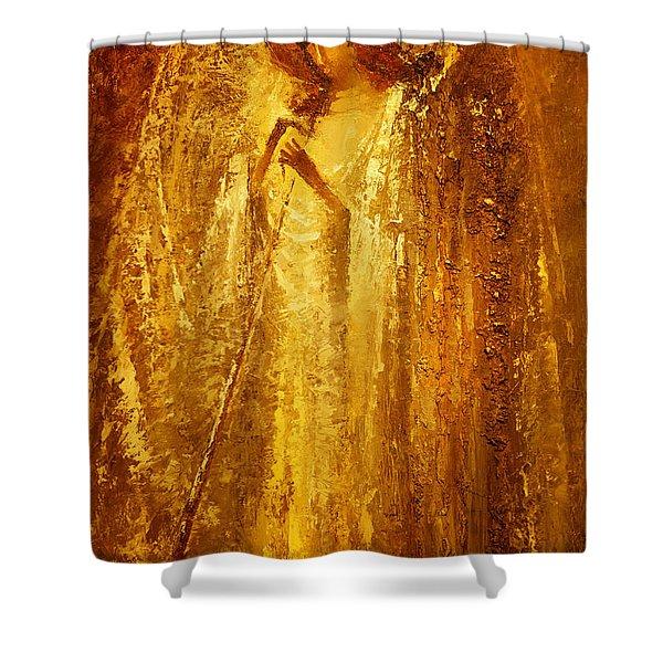 Golden Light Of Angel Shower Curtain