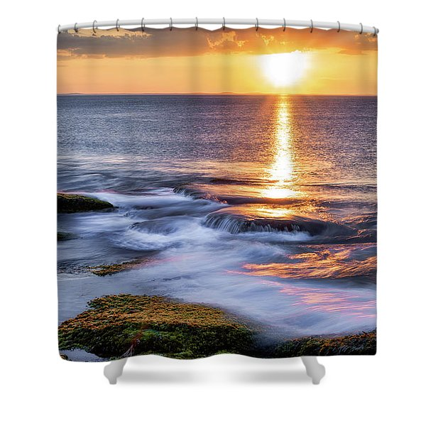 Golden Light Sunset, Rockport  Ma. Shower Curtain
