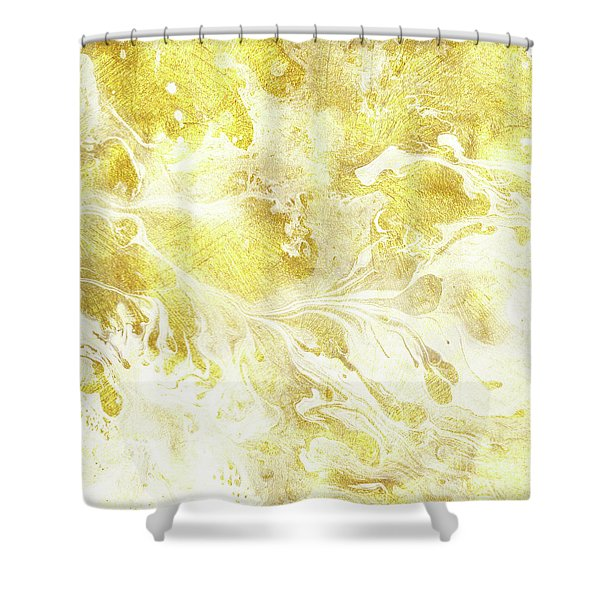 Golden Marble I Gold And White Abstract Art Shower Curtain