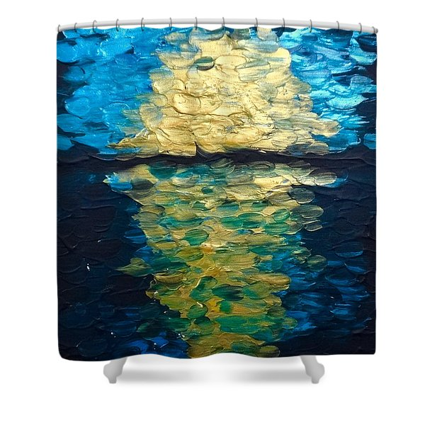 Golden Moon Reflection Shower Curtain