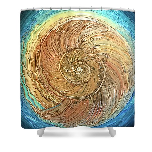 Golden Nautilus Shower Curtain