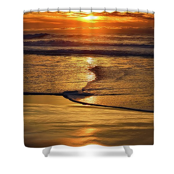 Golden Pacific Sunset Shower Curtain