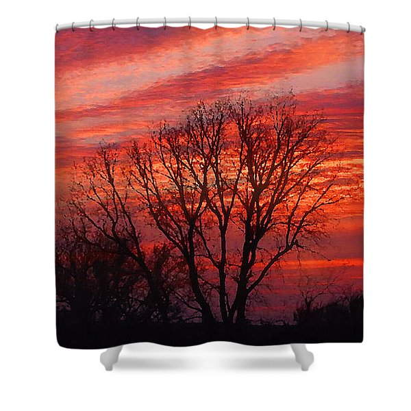 Golden Pink Sunset With Trees Shower Curtain