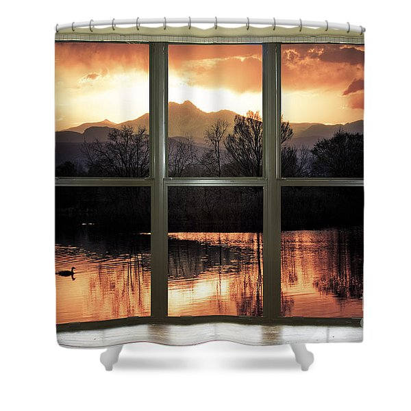 Golden Ponds Bay Window View Shower Curtain