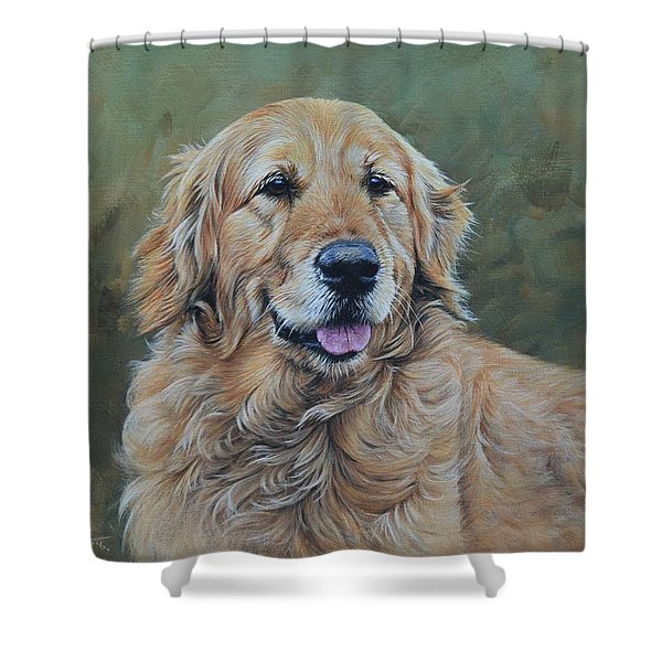 Shower Curtain featuring the painting Golden Retriever Portrait by Alan M Hunt