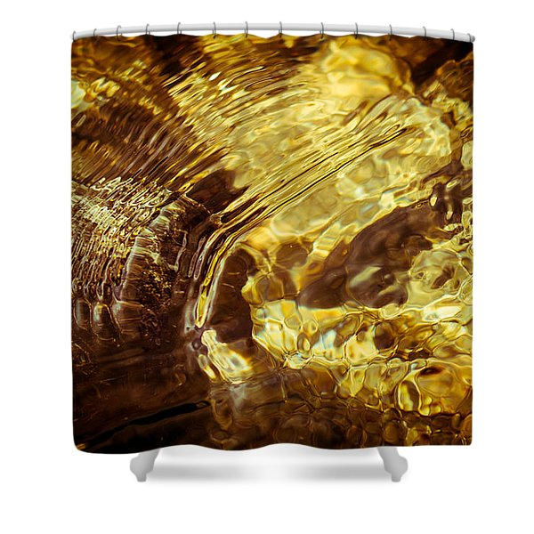 Golden Ripples Shower Curtain