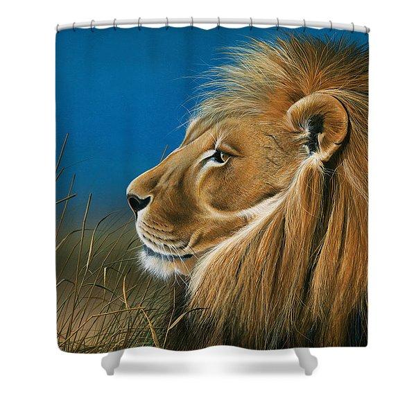 Golden Sentinal Shower Curtain