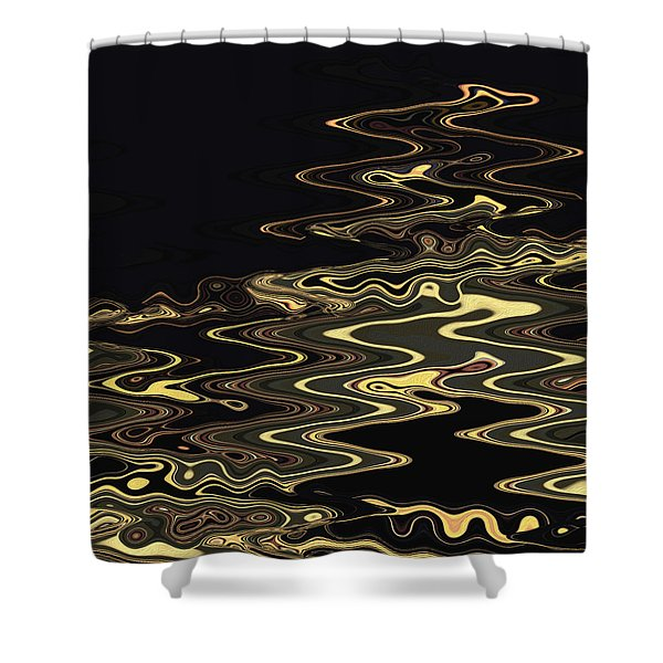 Golden Shimmers On A Dark Sea Shower Curtain