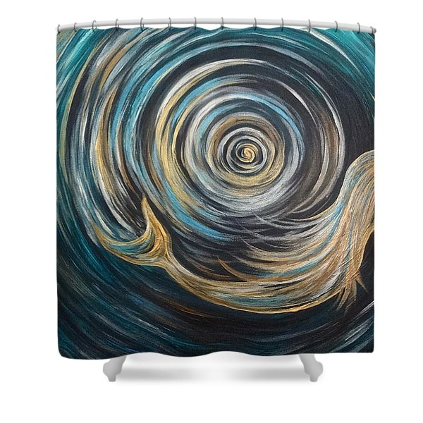 Golden Sirena Mermaid Spiral Shower Curtain