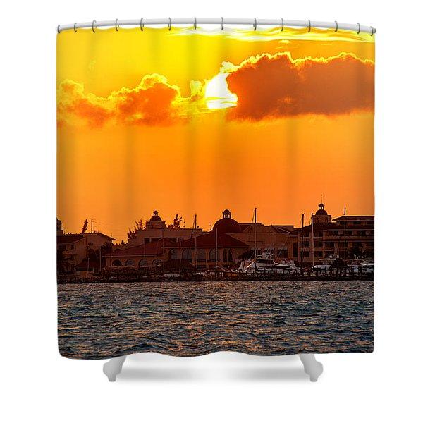 Golden Sky In Cancun Shower Curtain
