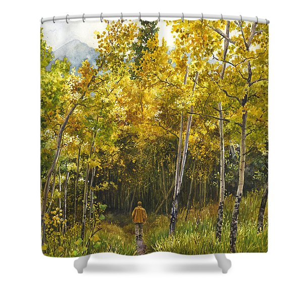 Golden Solitude Shower Curtain