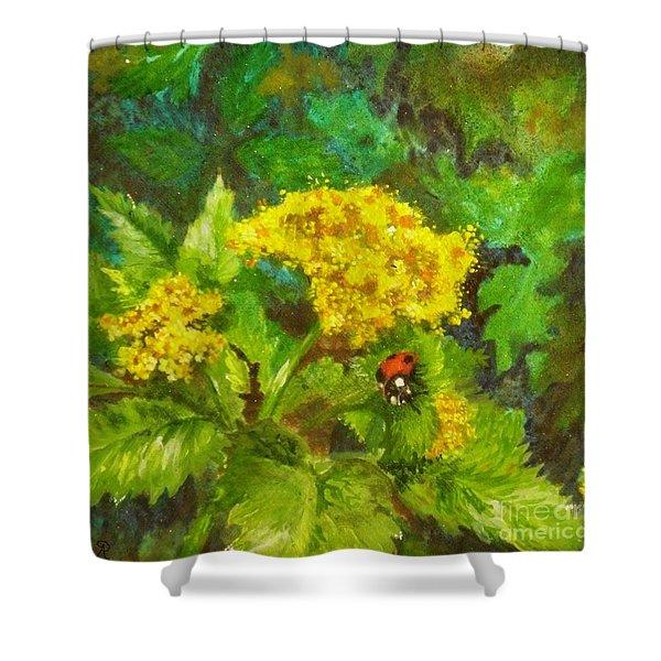 Golden Summer Blooms Shower Curtain