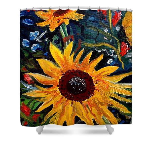 Golden Sunflower Burst Shower Curtain