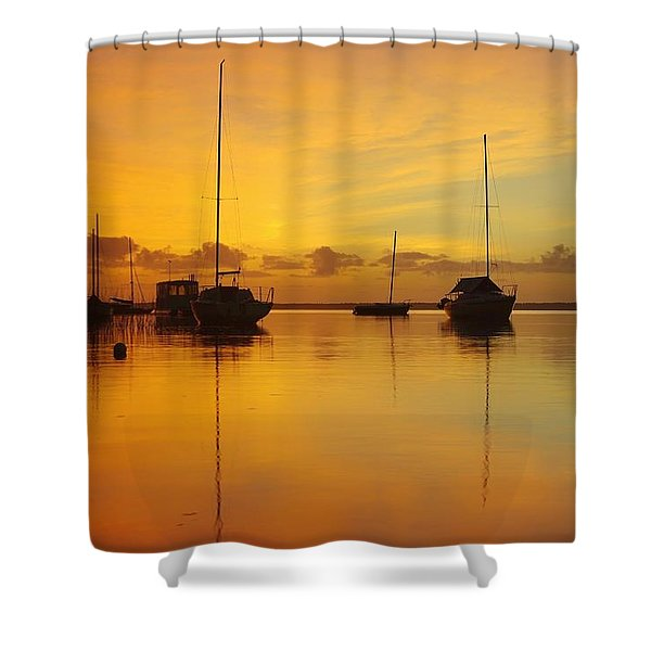 Golden Sunrise At Boreen Point Shower Curtain