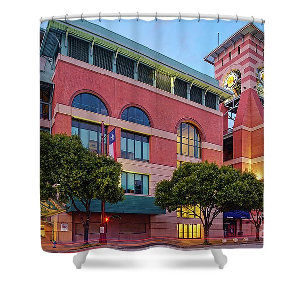Golden Sunset Glow On The Facade Of Minute Maid Park - Downtown Houston Harris County Texas Shower Curtain
