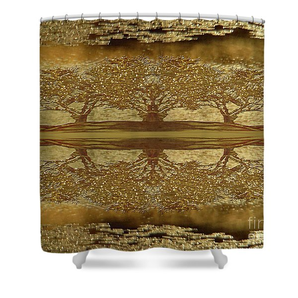 Golden Trees Reflection Shower Curtain