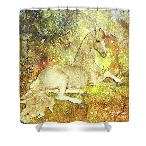 Golden Unicorn Dreams Shower Curtain