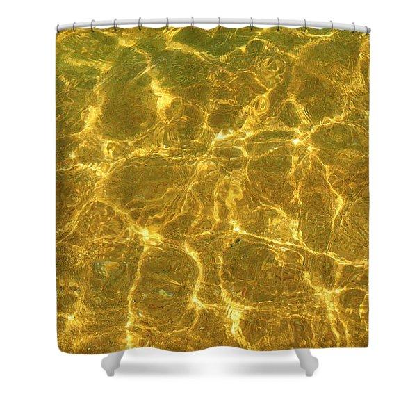 Golden Wave Shower Curtain