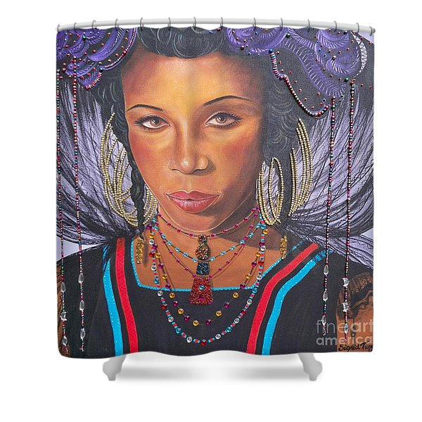 Gracious Golden Wodaabe Girl           From The Attitude Girls  Shower Curtain