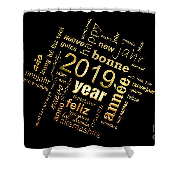 Golden Word Cloud New Year Card Shower Curtain