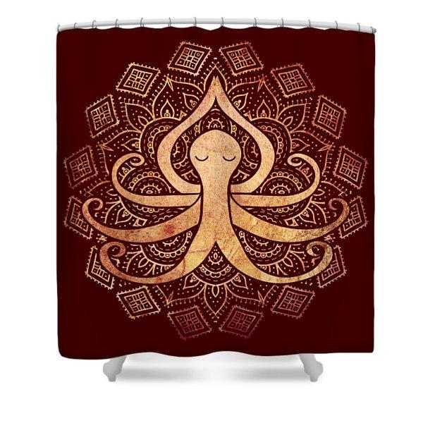 Golden Zen Octopus Meditating Shower Curtain