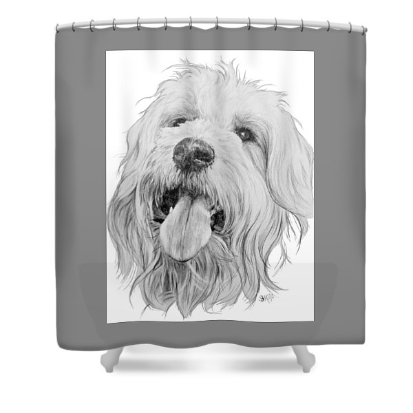 Shower Curtain featuring the drawing Goldendoodle by Barbara Keith