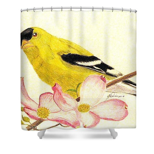 Goldfinch Spring Shower Curtain