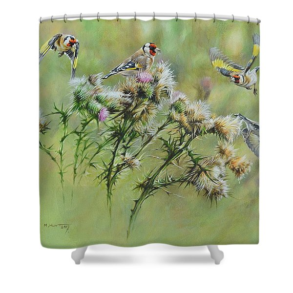 Goldfinches On Thistle Shower Curtain