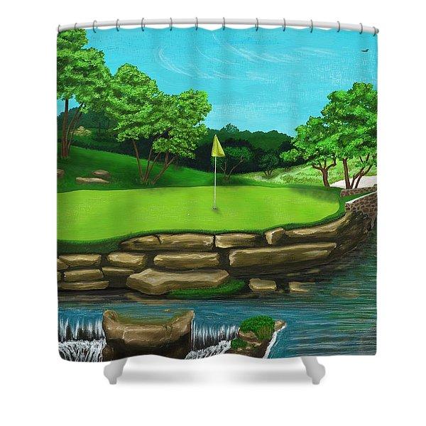 Golf Green Hole 16 Shower Curtain