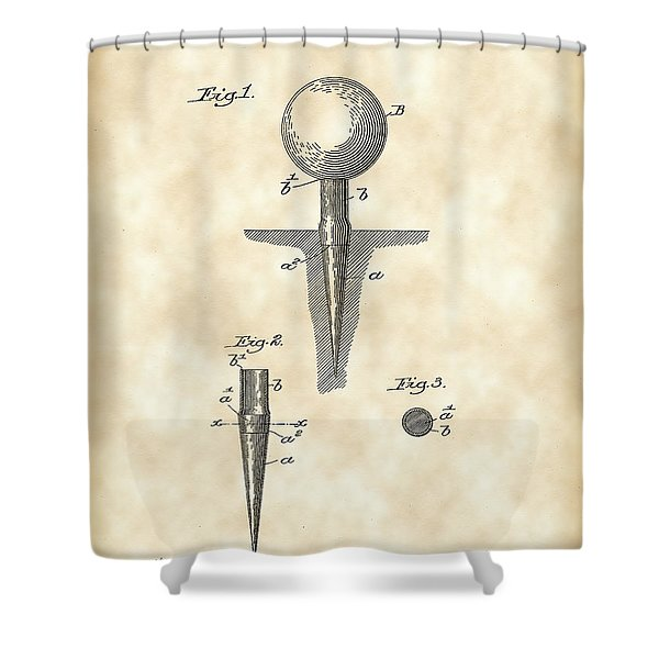 Golf Tee Patent 1899 - Vintage Shower Curtain